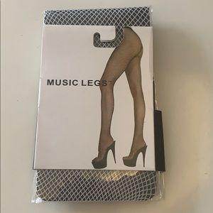 White music legs fishnet tights